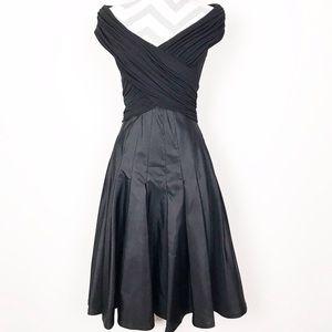 Tadashi Black Silk Taffeta Jersey Faux Wrap Dress